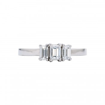 Ladies .820 Ctw Emerald Cut Diamond Ring / 14 Kt W