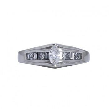 Ladies .580 Ctw Marquise Cut Diamond Ring / Platinum