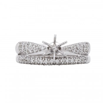 14kw Round Diamond Semi-Mount Wedding Set