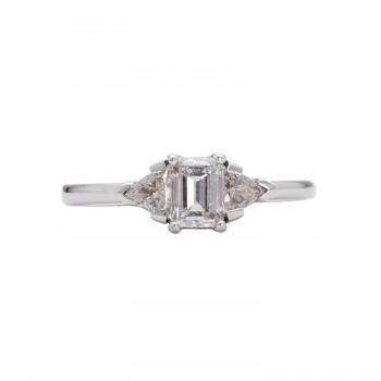 14kw .555ct Emerald & .31ctw Trillion Cut Engagement Ring