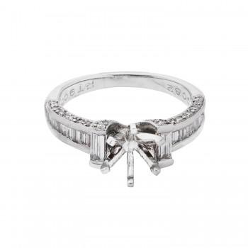 Ladies .820 Ctw Diamond Semi-mount / Platinum
