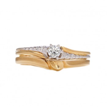 Ladies .100 Ctw Princess Cut Diamond Ring / 2-Tone 14 Kt.