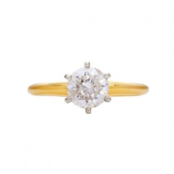 14KW Round Solitaire Diamond Ring