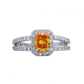 Lab Grown Orange Diamond Engagement Ring