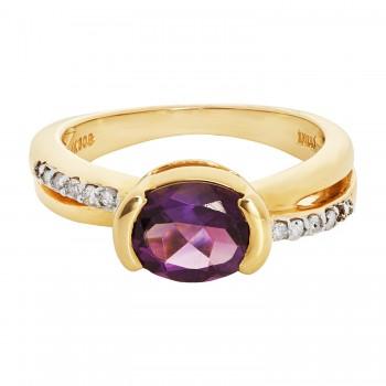 14ky Amethyst/Diamond Ring