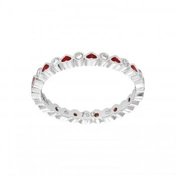 Ladies Round Cut White Gold Ring / 18 Kt W