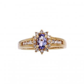 10ky Oval Tanzanite/Round Diamond Ring