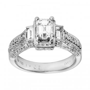 Ladies .650 Ct. / 1.250 Ctw Emerald Cut Diamond Engagement Ring