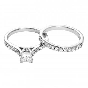 Ladies .720 Ctw Princess Cut Diamond Wedding Set / 18 Kt W