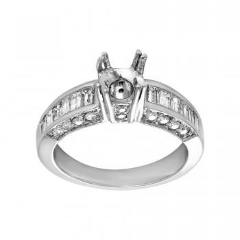 Ladies 1.120 Ctw Emerald Cut Diamond Semi-mount / 14 Kt W