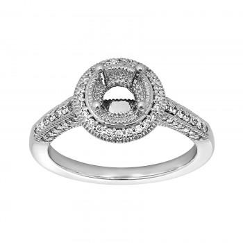 Ladies .480 Ctw Diamond Semi-mount / 14 Kt W