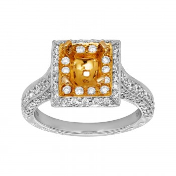 Ladies 1.100 Ctw Diamond Semi-mount / 2-Tone 14 Kt.