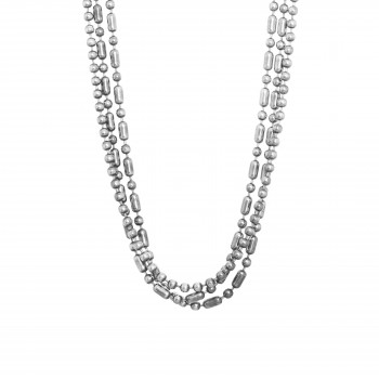 Sterling Silver Beaded Three Strand Necklace