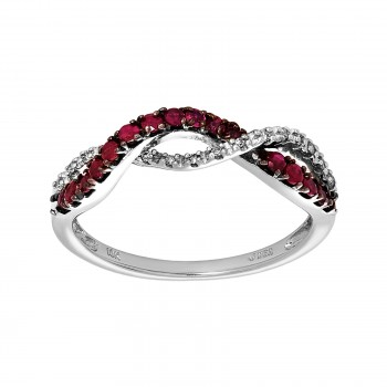 10kw .06ctw diamond and ruby ring