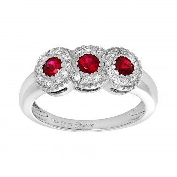 18kw .75ctw ruby and .20ctw diamond ring
