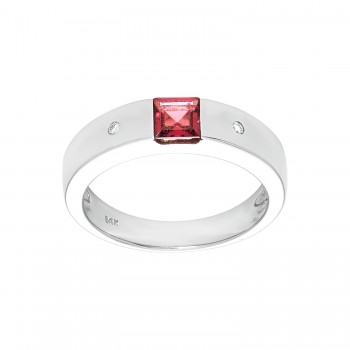 14kw .30ctw rhodelite and .02ctw diamond ring