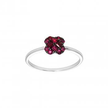 Ladies Round Cut Ruby Fashion Ring / 14 Kt W