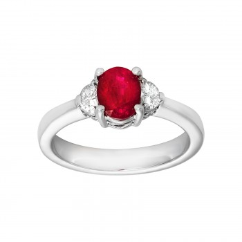 Ladies .220 Ctw Ruby Ring / 18 Kt W