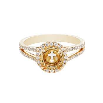 Ladies .550 Ctw Diamond Semi-mount / 14 Kt Y