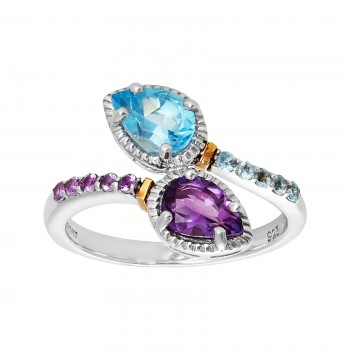 18K Gold & Sterling Silver Amethyst/Blue Topaz Ring