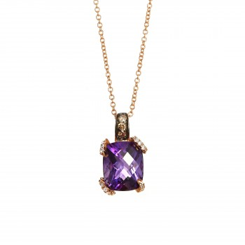 14k Rose Gold 3.75ct Amethyst and .17ctw Diamond Pendant