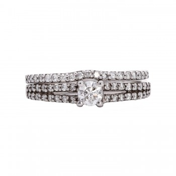 Ladies .650 Ctw Round Cut Diamond Wedding Set / 14 Kt W