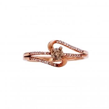 Ladies .250 Ctw Round Cut Diamond Ring / Rose Gold