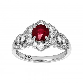 14kw .80ct Ruby/ .69ctw Diamond Ring