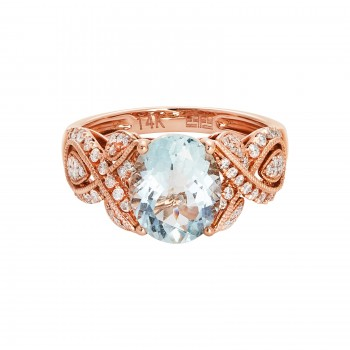 EFFY 14k Rose Gold 2.40ct Aquamarine & .42 Diamond Ring