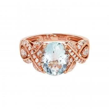 14k Rose Gold 2.40ct Aquamarine and .42 Diamond Ring
