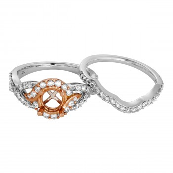 Ladies 1.000 Ctw Diamond Semi-mount / 2-Tone 14 Kt.