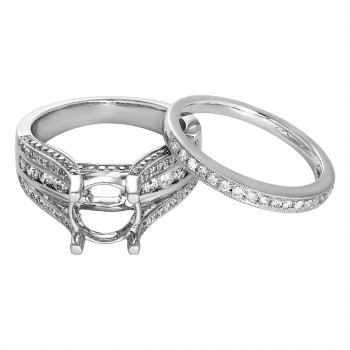 Ladies 1.200 Ctw Round Cut Diamond Semi-mount / 14 Kt W