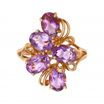Ladies Oval Cut Amethyst Cluster Ring / 10 Kt Y