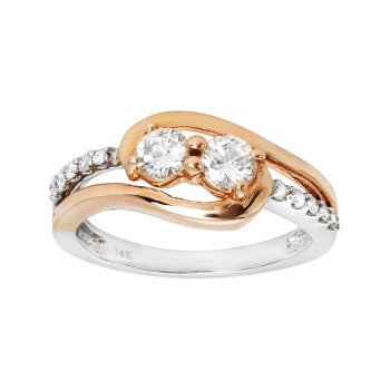Ladies .700 Ctw Diamond Ring / 2-Tone 14 Kt.
