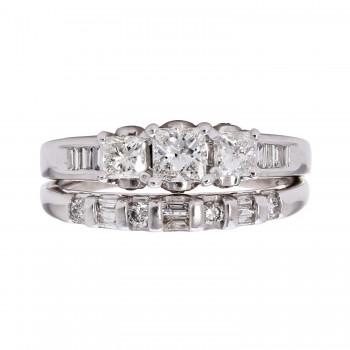 1.250 Ctw Princess Cut Diamond Two-ring Wedding Set / 14 Kt W
