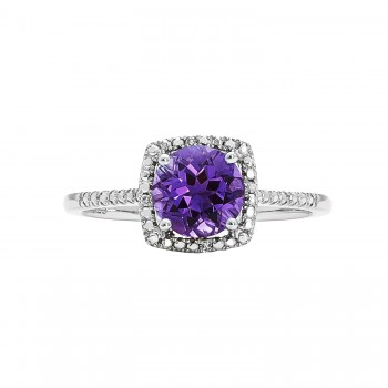 Sterling Silver 7mm Amethyst and .01ctw Diamond Ring