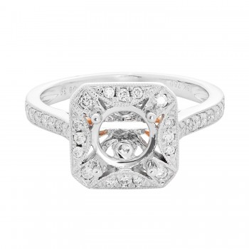 18k White Gold w/ Rose Gold Accents .39ctw Diamond Semi-Mount
