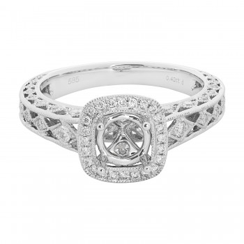 18k White Gold .43ctw Diamond Semi-Mount