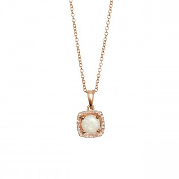 EFFY 14k Rose Gold Opal and Diamond Necklace