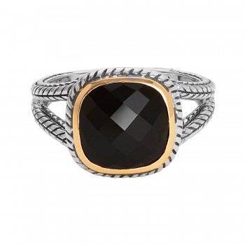 Ladies 2.800 Ctw Onyx Ring / Silver & 18 Kt.