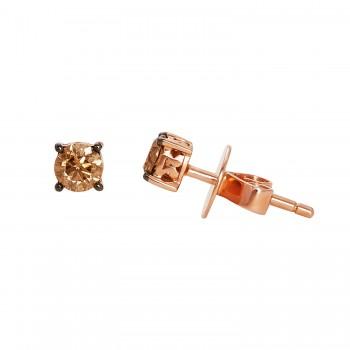 Le Vian Ladies .460 Ctw Diamond Earrings / Rose Gold 14 Kt.