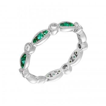 Ladies Emerald Ring / 14 Kt W