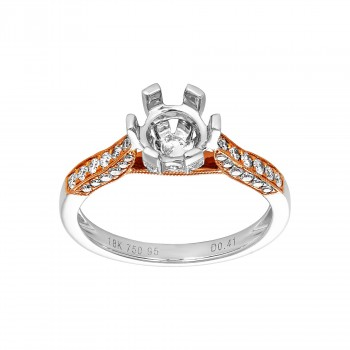 Ladies .410 Ctw Diamond Semi-mount / 2-Tone 18 Kt.