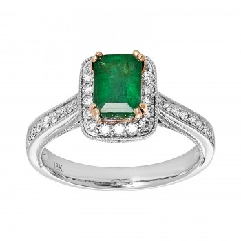 Lds 18kw Emerald and diamond ring