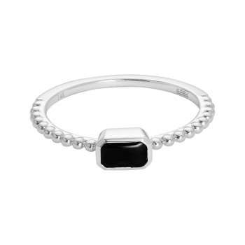 EFFY Ladies Onyx Ring / 14 Kt W
