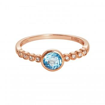 EFFY Ladies .050 Ctw Blue Topaz Ring / Rose Gold 14 Kt.