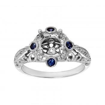 14kw semi-mount .20ctw Blue Sapphire and .15ctw Diamond