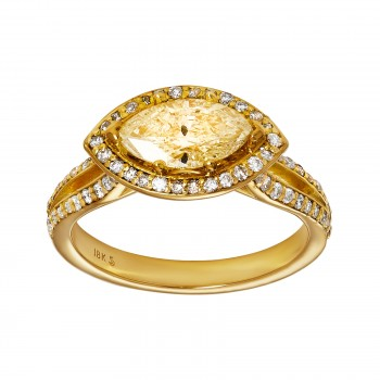 18ky 1.02ct MQ Diamond and .38ctw rd diamond Ring
