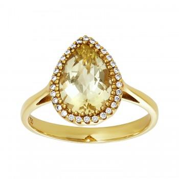 Ladies .090 Ctw Quartz Ring / 18 Kt Y