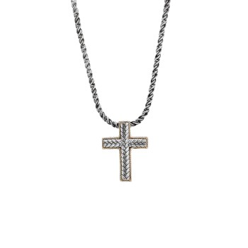 EFFY Men's 2-Tone Cross Necklace / Silver & 18 Kt.